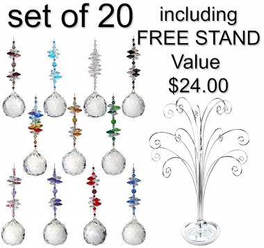 Crystal Sphere - beaded long - set of 20 incl. FREE STAND
