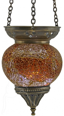 Turkish Mosaic Hanging Tealight - Medium - Amber
