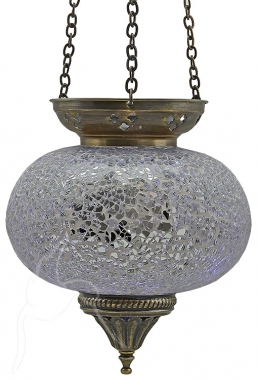 SPECIAL - Turkish Mosaic Hanging Tealight - Large - Silver