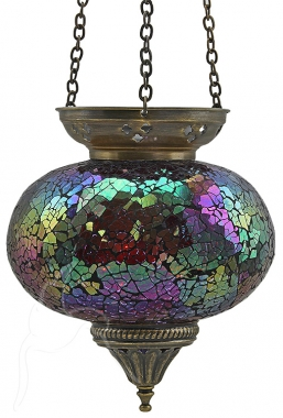 Turkish Mosaic Hanging Tealight - Large - Fuchsia