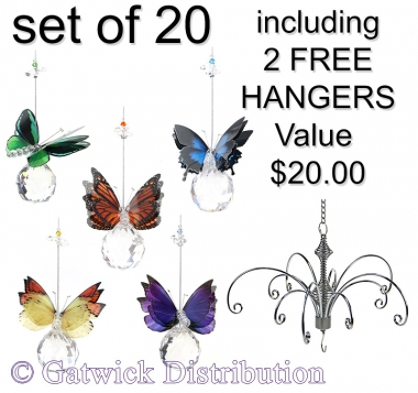 Butterfly on Sphere - set of 20 incl. 2x FREE HANGERS