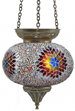 SPECIAL - Turkish Beaded Mosaic Hanging Tealight - Large - Beaded White Rainbow