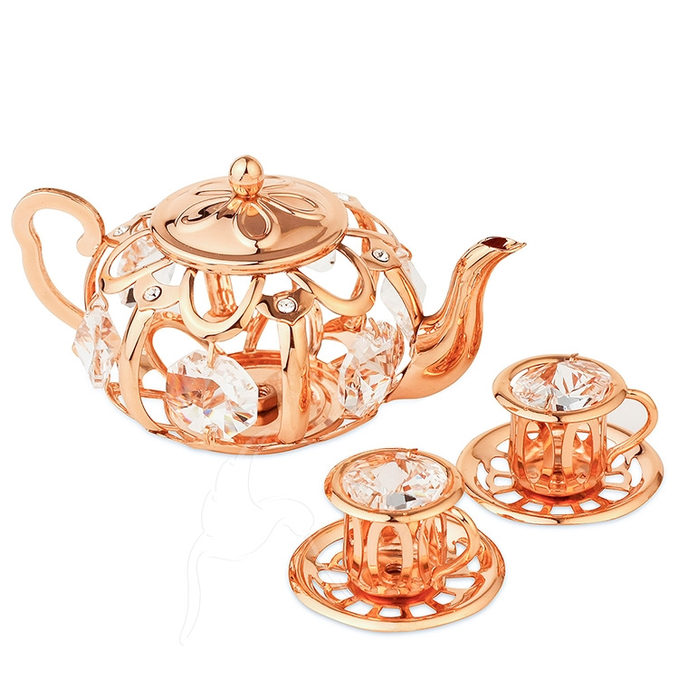 Crystocraft Tea Pot Set With Two Cups Rose Gold