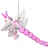 Dragonfly with Crystal Heart - Pink