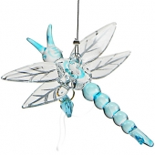Dragonfly with Crystal Heart - Blue