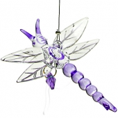 Dragonfly with Crystal Heart - Purple