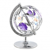 Crystocraft Mini Spinning Globe - Silver