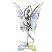 Crystocraft Butterfly Fairy on Crystal Lotus Base - Silver