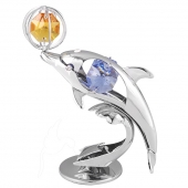 SPECIAL - Crystocraft Mini Dolphin with Ball - Silver