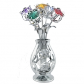 Crystocraft Five Tulips in Crystal Vase - Silver