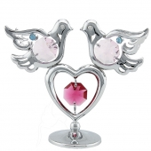 SPECIAL - Crystocraft Mini Doves & Heart - Silver