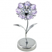 Crystocraft Sunflower on Deluxe Base - Silver - Violet