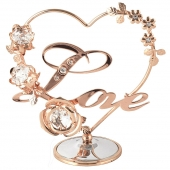 Crystocraft Heart with Flowers Love - Rose Gold