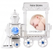 Crystocraft Photo Frame - Baby Train Engine - Blue
