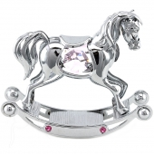 Crystocraft Rocking Horse - Silver - Pink