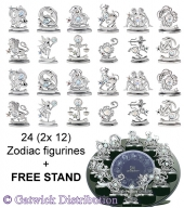 Crystocraft Zodiac - Silver - 24 pc set - incl. FREE STAND</br><b>Online Special Only</b>