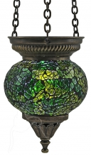SPECIAL - Turkish Mosaic Hanging Tealight - Small - Green