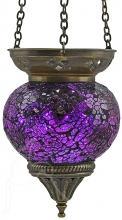 SPECIAL - Turkish Mosaic Hanging Tealight - Medium - Purple