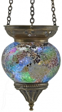SPECIAL - Turkish Mosaic Hanging Tealight - Medium - White Rainbow