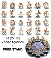 Crystocraft Zodiac - Rose Gold - 24 pc set - incl. 1 FREE STAND