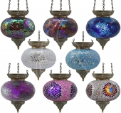 Large Turkish Mosaic Hanging Tealights - set of 8