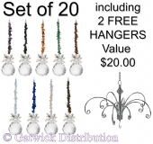 SPECIAL - Gem-Chip on 30mm Sphere - set of 20 incl. 2x FREE HANGERS