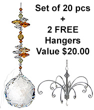Crystal Sphere - beaded long - set of 20 incl. 2x FREE HANGERS