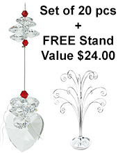 Crystal Heart - set of 20 incl. FREE STAND