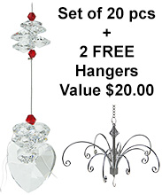Crystal Heart - set of 20 incl. 2x FREE HANGERS