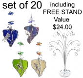 Animals on Leadlight Leaf - set of 20 incl. FREE STAND