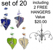 Animals on Leadlight Leaf - set of 20 incl. 2x FREE HANGERS