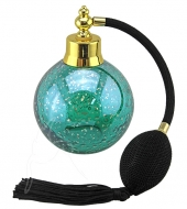 Perfume Bottle - Round - Green With Gold Flecks