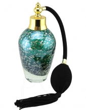 Perfume Bottle - Tall - Green With Gold Flecks