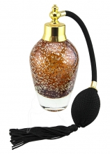 Perfume Bottle - Tall - Amber With Gold Flecks