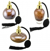 Perfume Bottles - Amber With Gold Flecks - Set of 3