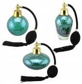 Perfume Bottles - Green With Gold Flecks - Set of 3