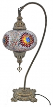 SPECIAL - Large Turkish Mosaic Swan Lamp - Beaded White RBW