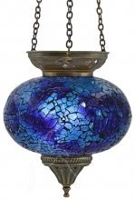 Turkish Mosaic Hanging Tealight - Large - Blue