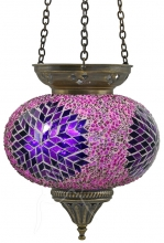 SPECIAL - Turkish Beaded Mosaic Hanging Tealight - Large - Beaded Pink