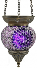SPECIAL - Turkish Mosaic Hanging Tealight - Medium - Beaded Purple