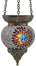 Turkish Mosaic Hanging Tealight - Medium - Beaded White Rainbow