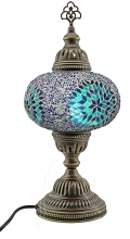 Turkish Mosaic Bedside or Table Lamp - Large - Beaded Blue