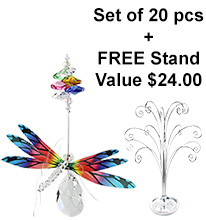 Dragonfly Almond Deluxe - set of 20 incl. FREE STAND
