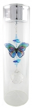 SPECIAL - Candleholder with Butterfly - Large - Silver Lid - Blue Stripe