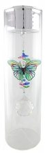 SPECIAL - Candleholder with Butterfly - Large - Silver Lid - Green Stripe