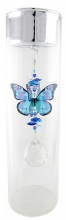 SPECIAL - Candleholder with Butterfly - Large - Silver Lid - Blue