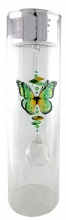 SPECIAL - Candleholder with Butterfly - Large - Silver Lid - Green