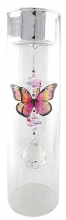 Candleholder with Butterfly - Large - Silver Lid - Pink