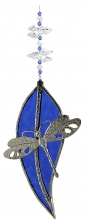 Dragonfly on Leadlight Leaf - Blue <br/><b>LIMITED STOCK AVAILABLE!</b>