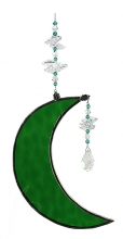 Hanging Cresent Leadlight Moon - Green<br/><b>LIMITED STOCK AVAILABLE!</b>